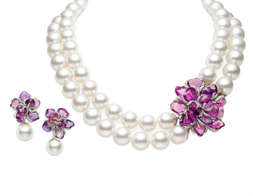 White South Sea Cultured Pearls, Diamonds and Purple Sapphires, necklace, $185,000, earrings, $95,000.